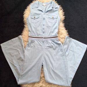 Vintage 1970s denim flare jumpsuit sleeveless M/L